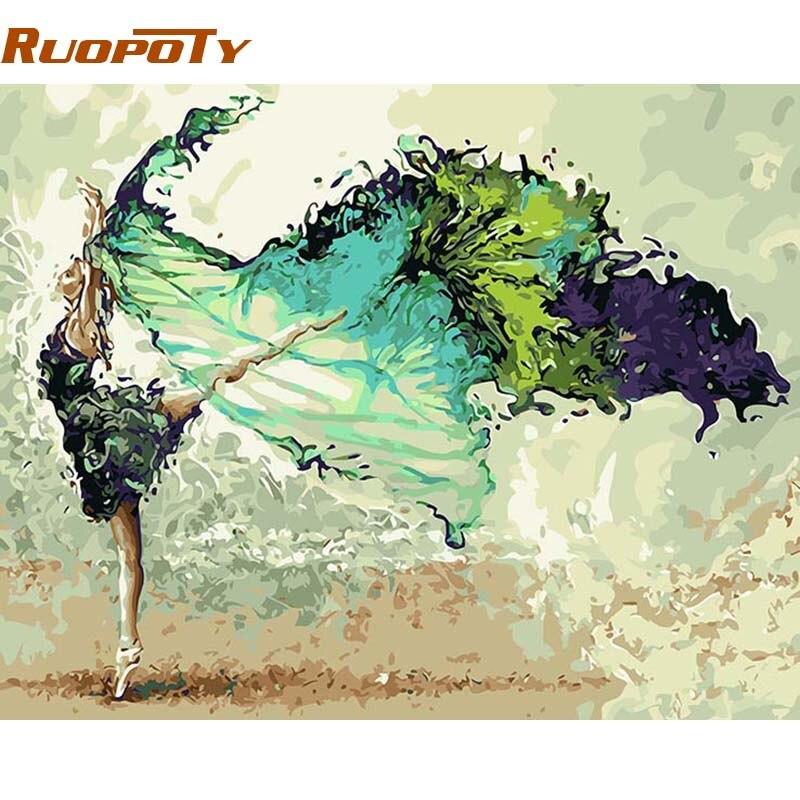 RUOPOTY Dançarina Abstrato Figura Pintura Quadro Pintura DIY Por Números Acrílico 40x50 Pintado À Mão Para Decoração de Casa Arte Da Parede imagem