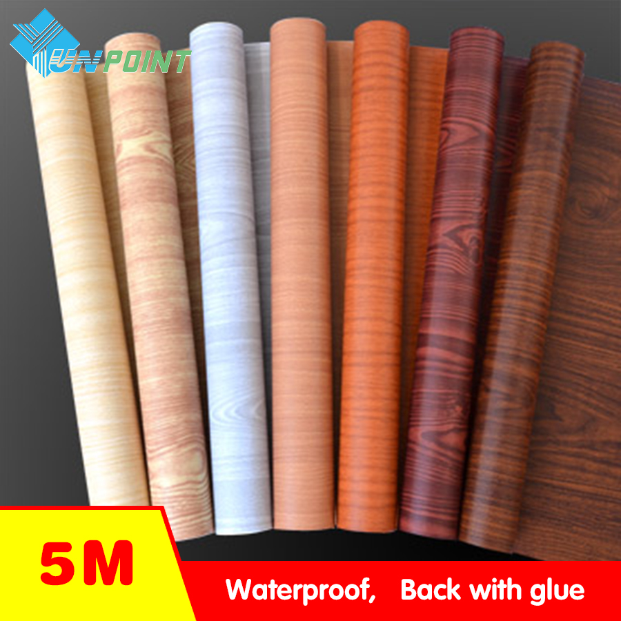 Pelekat Wall Fabric Waterproof Vinyl Wallpaper Furniture Wood Grain Self Adhesive Film Kitchen Cupboard Wardrobe Door Stickers