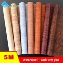 цена на Waterproof fabric wall stickers vinyl wallpaper Furniture wood grain self adhesive film Kitchen cupboard wardrobe door stickers