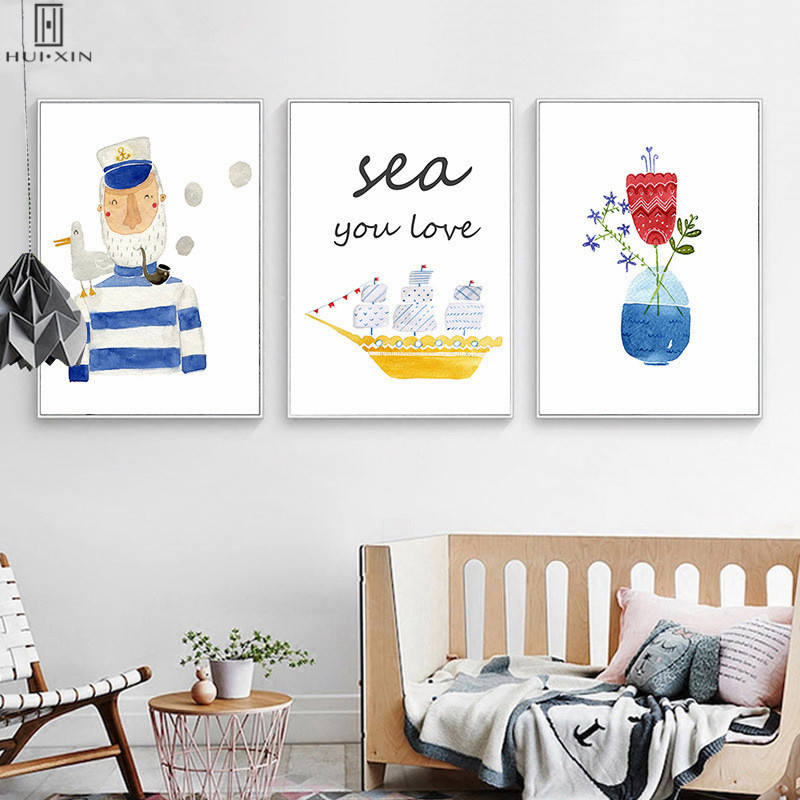 Adorable Presents Kids Birthday And Room Decoration Cartoon Popeye With Sea Gull On His Shoulder Yellow Boat Sea Wall Arts
