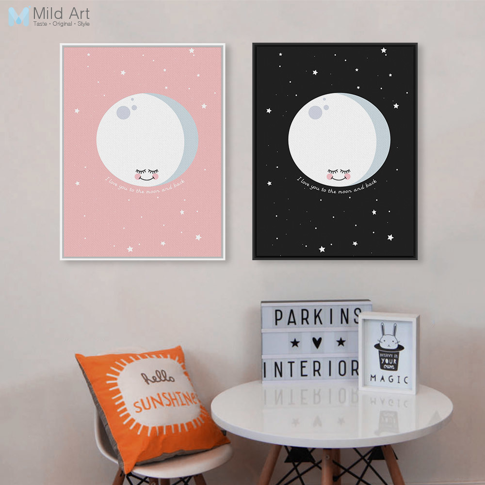 I Love You To The Moon And Back Quotes Starry Poster Prints Nordic