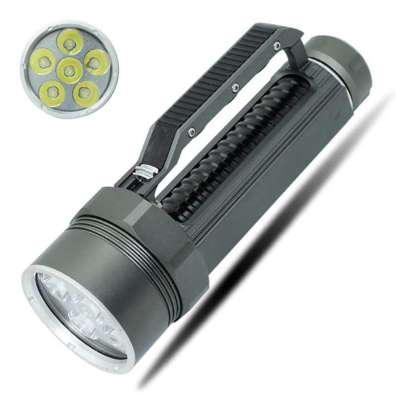 цена на Diving Flashlight Powerful 6x XM-L2 LED Diving Torches Underwater Scuba Flashlights Dive Light Torch lamp 26650 32650 Flashlight