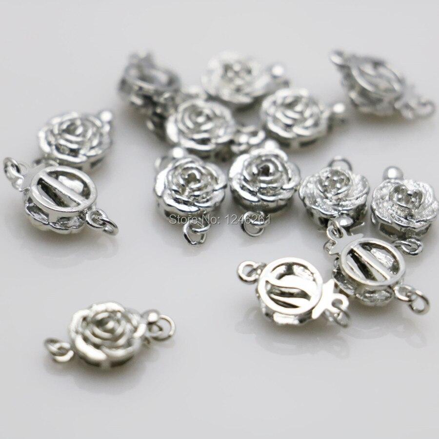 493d8c511c75 10 piezas de cierre para joyería botón Rosa accesorios de Metal DIY para  accesorios para collar ...