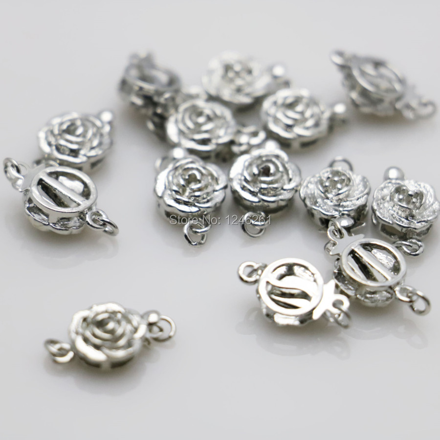 10PCS Clasp For Jewelry Rose button Metal DIY Fittings for Accessory for Necklace Bracelet Machining metal parts Silver-plate children princess clothes white grey lavender pink dresses kids 5 6 7 8 9 10 11 12 13 years long party dress girls wedding gowns