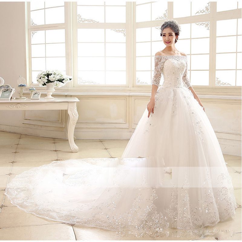 Image 3 - Luxury 2018 New Winter Sexy Boat Neck Half Sleeve Wedding Dress 80cm Tail Prinecess Wedding Gown Vestido De Noiva Tull Sequined-in Wedding Dresses from Weddings & Events