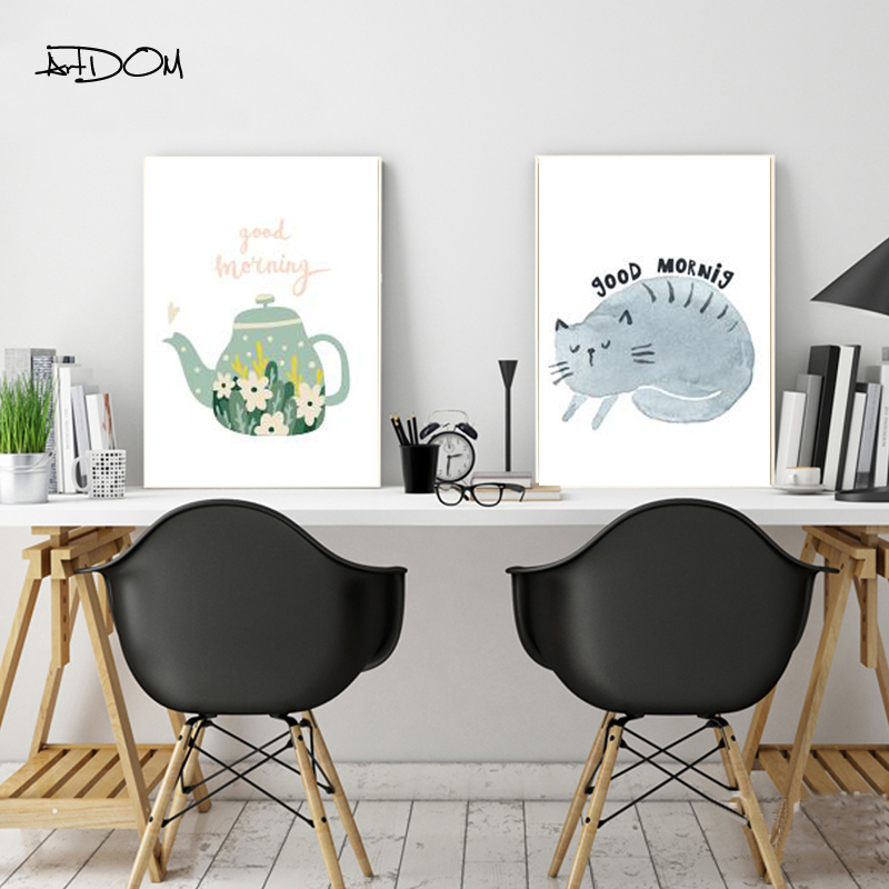 Artdom No Frame Good Morning Quote Canvas Painting Modern Cartoon Cat Print Poster Wall Pictures Home Decor
