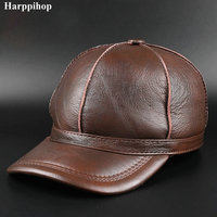 Black Women MEN Genuine Leather Baseball Cap Adjustable Casual Warm HAT Free Shipping real cowhide hats