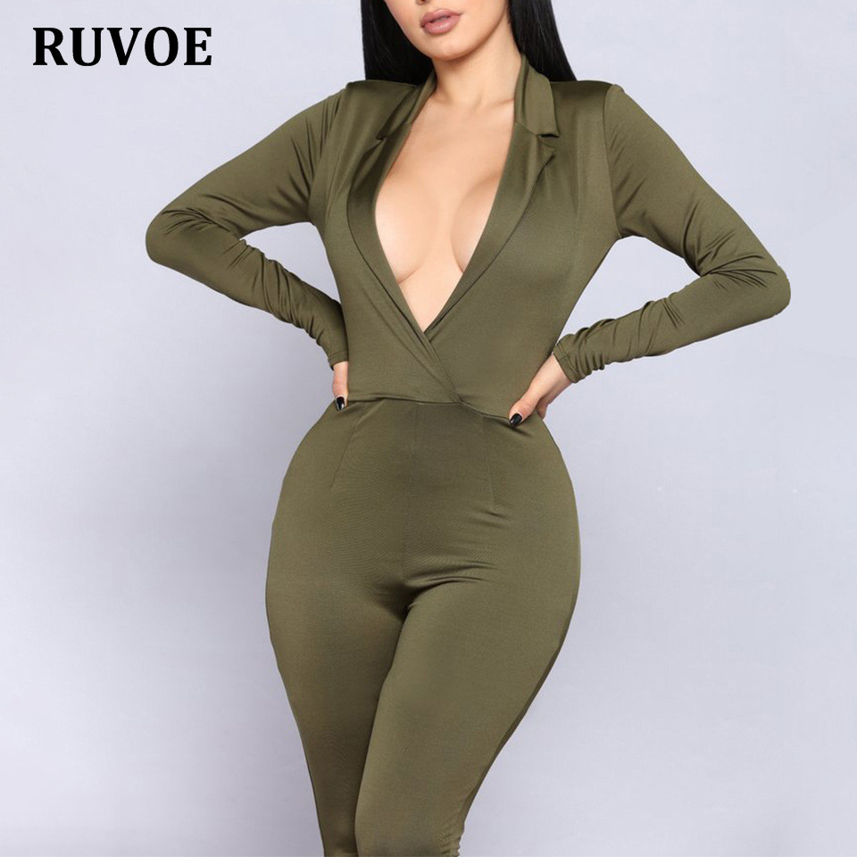 Wholesale 2018 New Long Sleeve Women Jumpsuit Sexy Rompers Women Fashion Bodycon Combinaison Femme Solid Lady Club Overalls