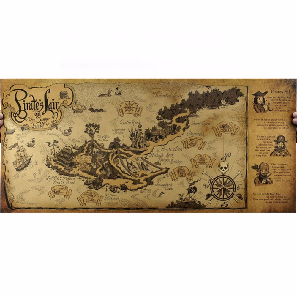 1 Pc Of Classic Kraft-Paper Pirate-Lair Map For School And Office