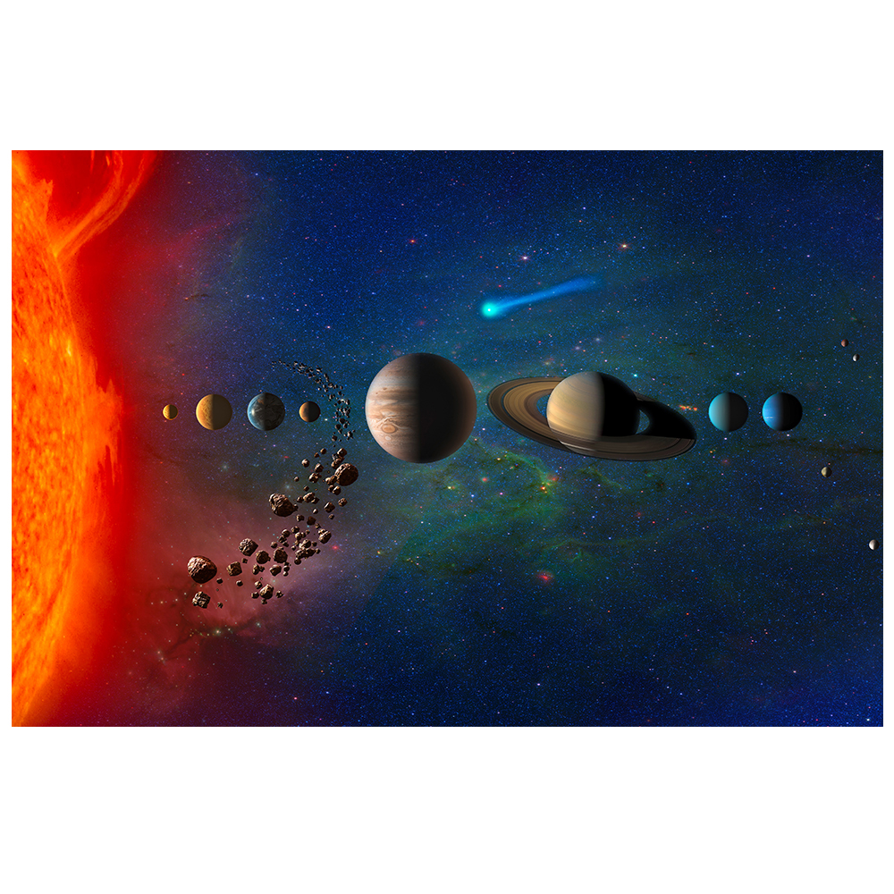 Universe Space Moon Poster Silk Cloth Earth Canvas Painting Wall Art Planet Satellite Solor System Living Room Decoration JBH