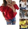 Nueva Sexy Blusas de Las Mujeres fuera del Hombro Elástico de la Raya Vertical de Cuello Casual Camisetas Rojo Amarillo