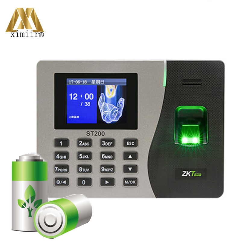 New Arrival Fingerprint Time Attendance Machine ST200 Wth Built-in Battery ZK New Card Time Recorder Free Shipping