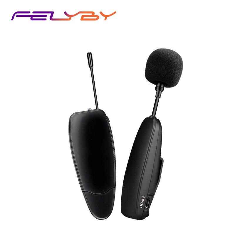FELYBY A-2 UHF Lavalier condensateur Microphone sans fil pour Guide touristique réunion enseignement Lecture, micro 3.5mm