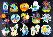 (5 pieces a lot)Maldives world travel resin refrigerator stickers цена