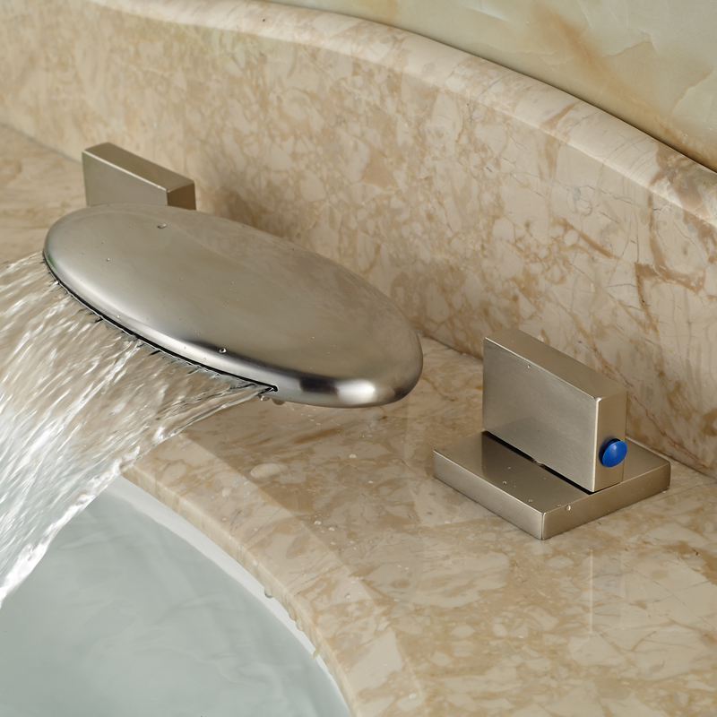 ФОТО Deck Mount Two Square Handles Waterfall Basin Mixer Faucet Brushed Nickel Widespread