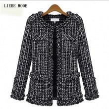 2016 Fashion Trends Womens Spring Tweed Jacket Women Ladies Short Coats Black Fancy Cardigans Plus Size S-XXXL