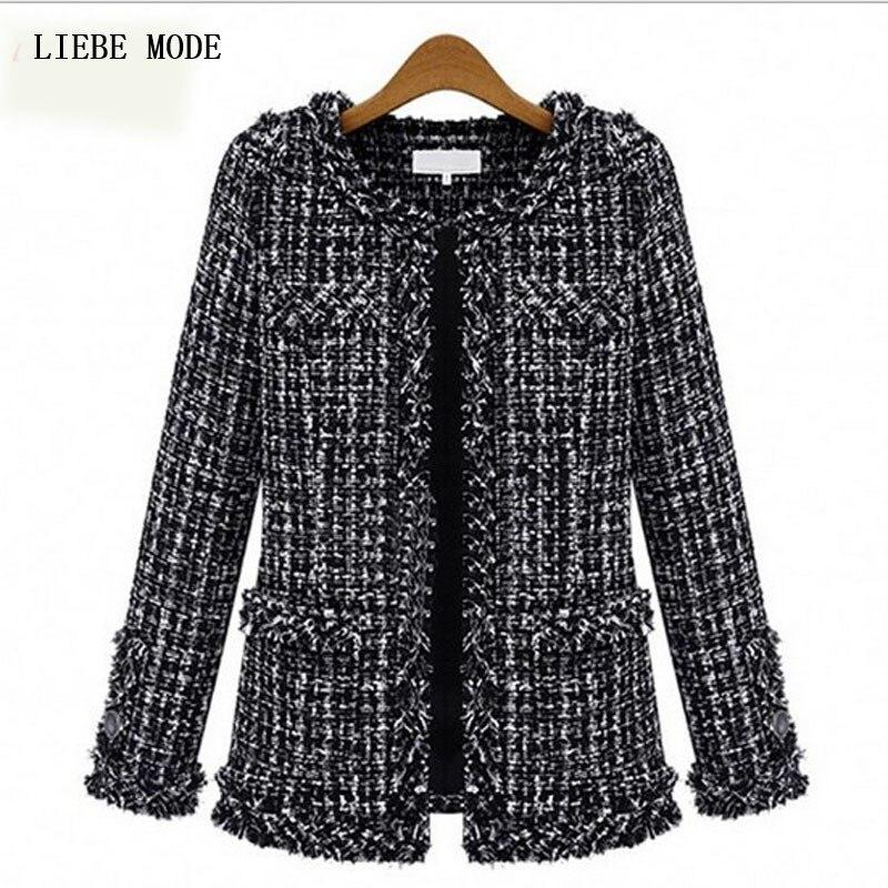 2016 mode tendances femmes printemps Tweed veste femmes dames manteaux courts noir fantaisie Cardigans grande taille S-XXXL