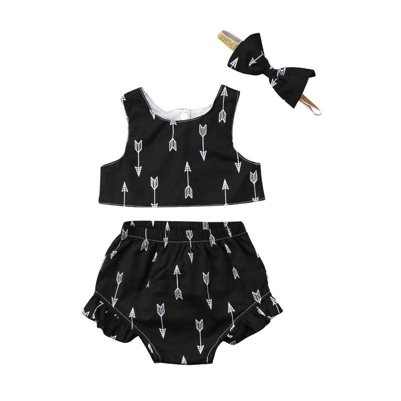 New Casual Stylish Newborn Kids Baby Girls Clothes Sleeveless Crop Tops Shorts Headband Outfits Sets Clothes