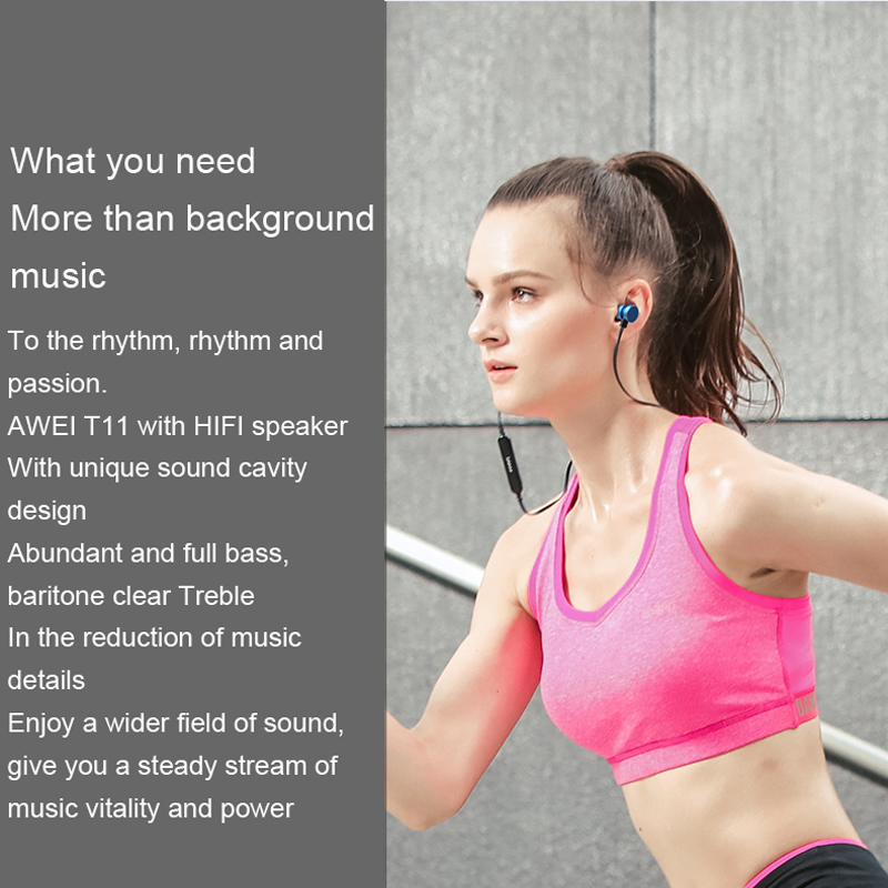 Newest AWEI T11 Wireless Headphone Bluetooth Headset Earphone Fone de ouvido Sports Music V4.2 Auriculares Bluetooth Casque 4