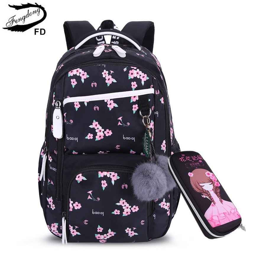 FengDong Kids Cute Black Pink Flower School Backpack Children School Bags For Girls Plush Ball Gift Children Pen Pencil Bag Set