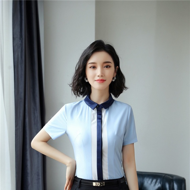1e0671867fd1d Occupation Shirts 2018 newest styles summer short Sleeve blouses female OL  interview blouse clothes office work wear plus size