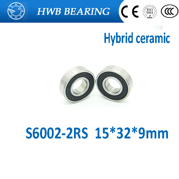 Free shipping S6002-2RS stainless steel 440C hybrid ceramic deep groove ball bearing 15x32x9mm for bike part free shipping wheel hub bearing 15267 2rs 15 26 7mm 15267 rs stainless steel si3n4 hybrid ceramic bearing