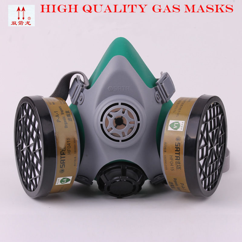 все цены на The new 2017 gas mask double filter box of four valve paint respirator high quality silica gel respirator dust mask LA standards онлайн