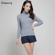 Smpevrg autumn winter fashion slim sexy female cashmere sweater casual turtleneck solid knit pullover full sleeve warm shirt top