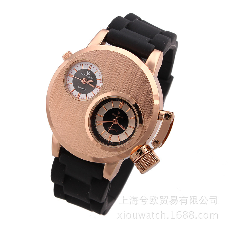 2018 Fashion V6 Double Movement Round Watch Korean Casual Men Sports Wathces Waterproof Mens Full Steel And SiliconQuartz Clocks relojes full stainless steel men s sprot watch black and white face vx42 movement