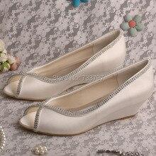 Wedopus MW489 Атласная Кристалл Модные Туфли На Низком Каблуке Клин Свадебные Туфли Peep Toe
