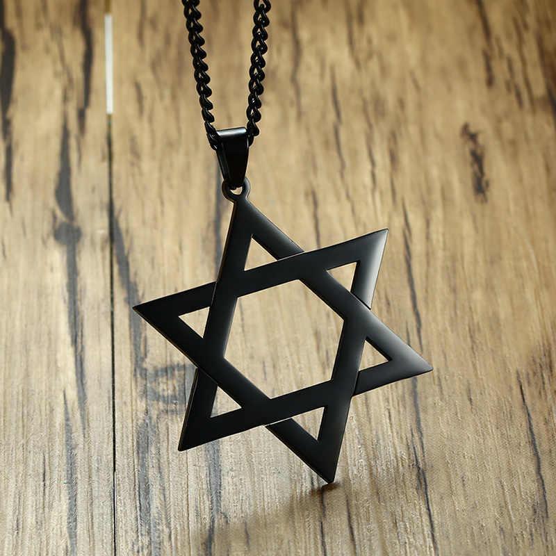 Clássico masculino estrela de david pingente colar em ouro preto aço inoxidável israel jewish jewelry 24 polegada