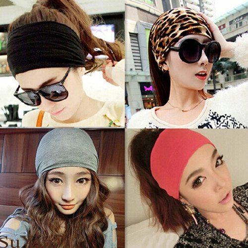 Жаңа Әйелдер Шашқа арналған аксессуарлар Leopard Striped Cotton Elastic Headbands Wide Turban Sport Yoga Dance Biker Hairbands Casual Turban