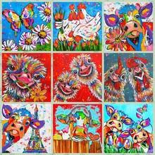 5d pintura diamante cor vaca frango avestruz borboleta imagem completa diamante mosaico strass 3d bordado aquarela dos desenhos animados