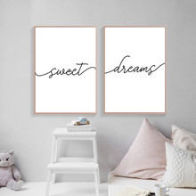купить Sweet Dreams Print Typography Poster Bedroom Decor, Modern Black and White Minimalist Canvas Painting Bedroom Prints HD2447 в интернет-магазине