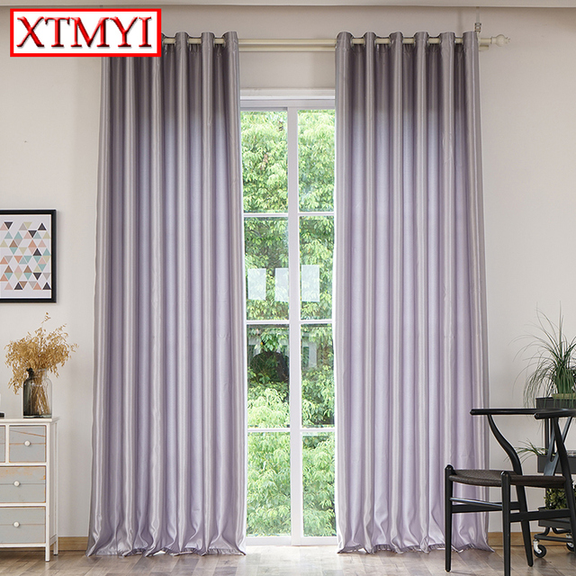 Modern Solid Color Blackout Curtains For Living Room Gray/red/purple/golden  Window