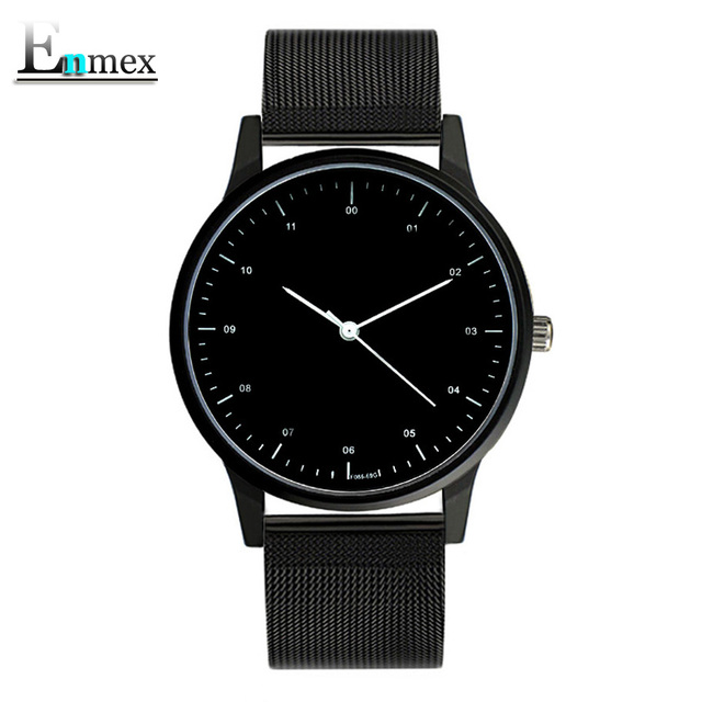 2017gift Enmex cool style wristwatch Brief vogue  simple stylish with Black and white face steel band quartz  fashion watch