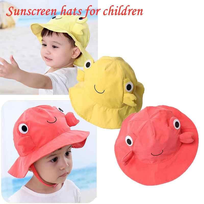 キッズサマービーチ帽子カニキャップ Suncreen 太陽の帽子かわいい釣り (イエロー)