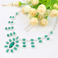 Luckyshine 2 PCS 1 LOT Fire Green Amethyst Prasiolite Silver Plated Wedding Chain Necklaces Russia USA Pendants Necklaces