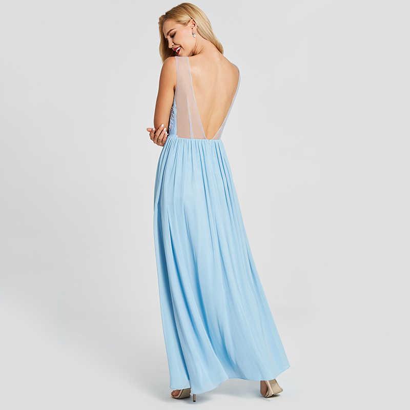 Dressv niebieska suknia wieczorowa tanie linia bez rękawów z wycięciem na zamek błyskawiczny wesele formalne aplikacje suknie wieczorowe z odkrytymi plecami
