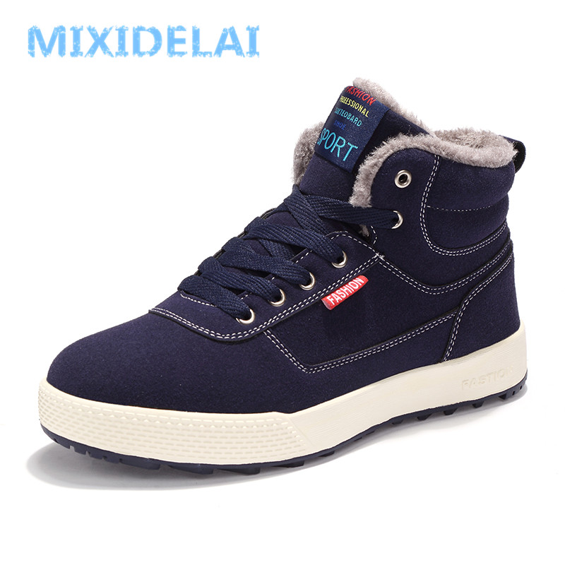 MIXIDELAI Casual Winter Boots Men Super Warm Snow Boots With Fur Platform Shoes Men Ankle Boots Waterproof Fashion Boots Size 47 mvvt super warm winter men boots snow boots with fur keep warm platform men winter snow shoes waterproof ankle boots