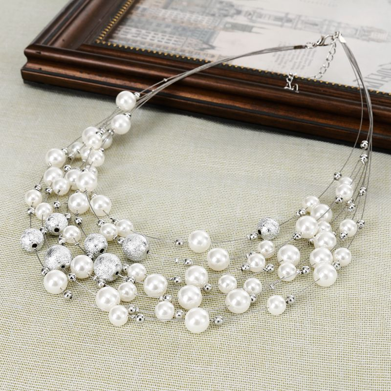 KMVEXO 2018 New Fashion Jewelry Gold Color Multi Layer Chains Imitation Pearl Necklaces For Women Party Wedding Bride Necklace 8