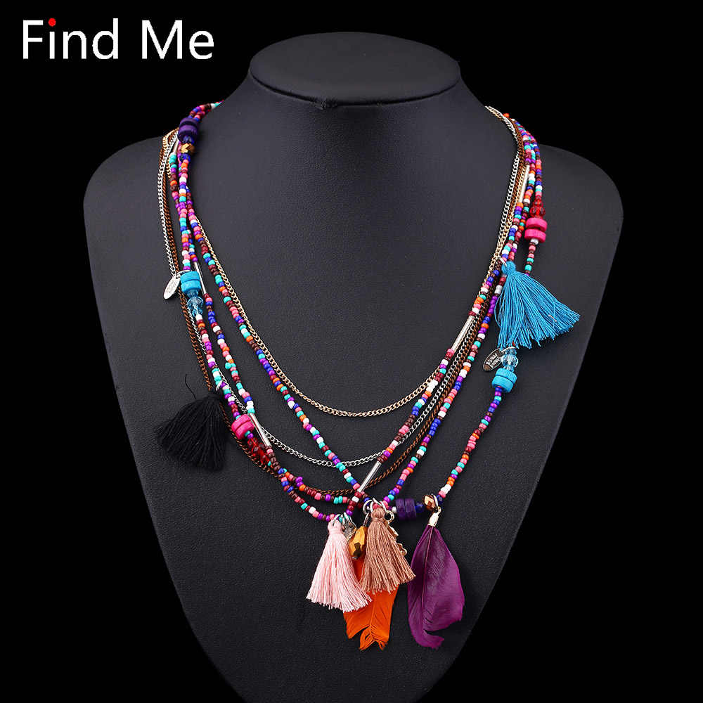 Find Me 2019 Fashion Boho Multilayer Woven Long tassel Statement Necklace Pendants Ethnic collar Choker Necklace Women Jewelry