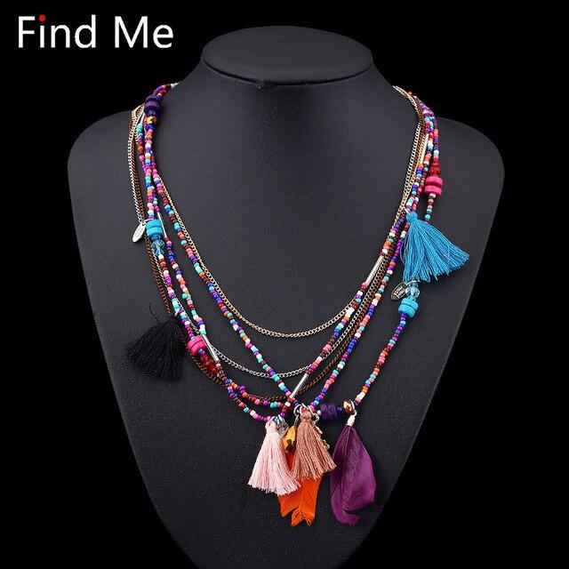 Find Me 2019 Fashion Boho Multilayer Woven Long tassel Statement Necklace Pendan