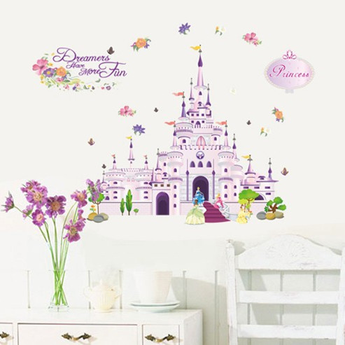 New Cartoon Castle Wall Stickers For Kids Room Furnishings Wall Stickers  Removable Pvc Wall Decal
