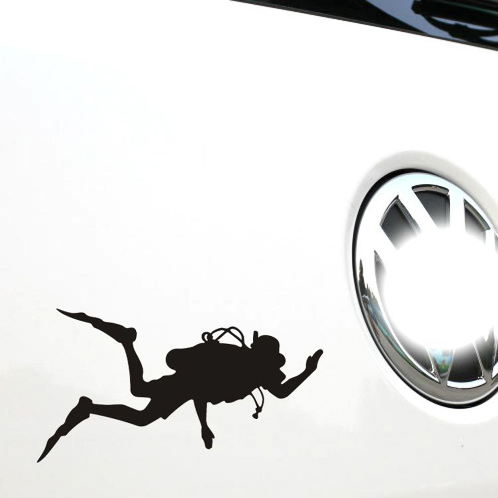 Funny Car Accessories Go Fish Diver Motorcycle Sticker and Decal for Ford Focus 2 3 Vw Skoda Superb Polo Golf Renault Opel Kia