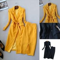 Set women's fashion women's autumn new fashion slim long sleeved long suit windbreaker + high waist skirt temperament two piece