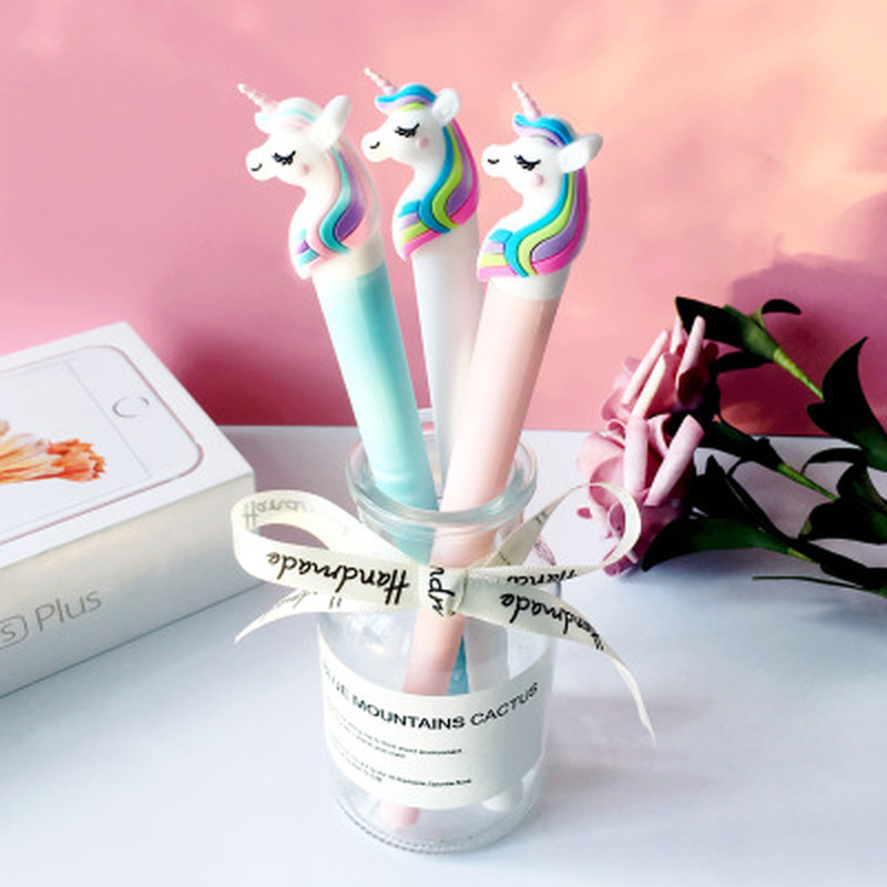 1pcs Unicorn Gel Pen Cute Pens 0.5mm  Novelty Cartoon Stationery Gel Pens Kawaii Pen Student Writing Kawaii School Supplies