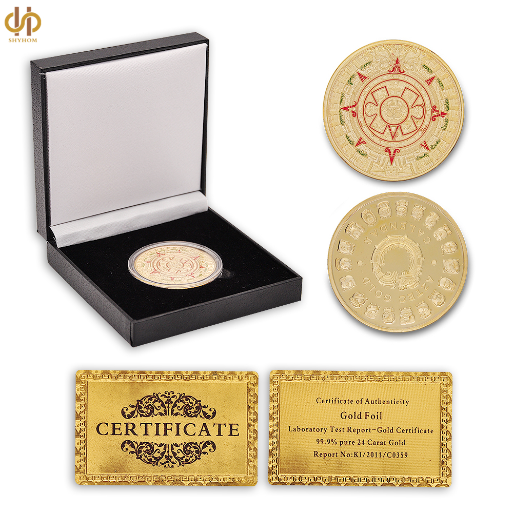 Mexico Mayan Aztec Calendar Art Prophecy Culture Replica Gold Commemorative Coin W/ Decor Box Protection