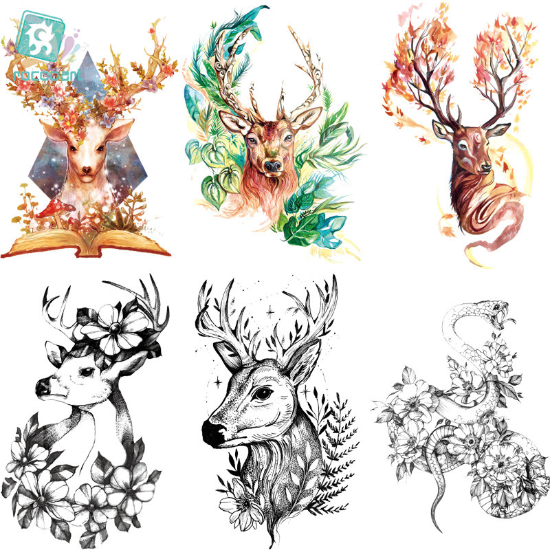 LC-524-851 2018 New Big Body Art HD Tatoo Sticker Waterproof Colorful Deer Golden Fish Dragon Temporary Tattoo Stickers Taty