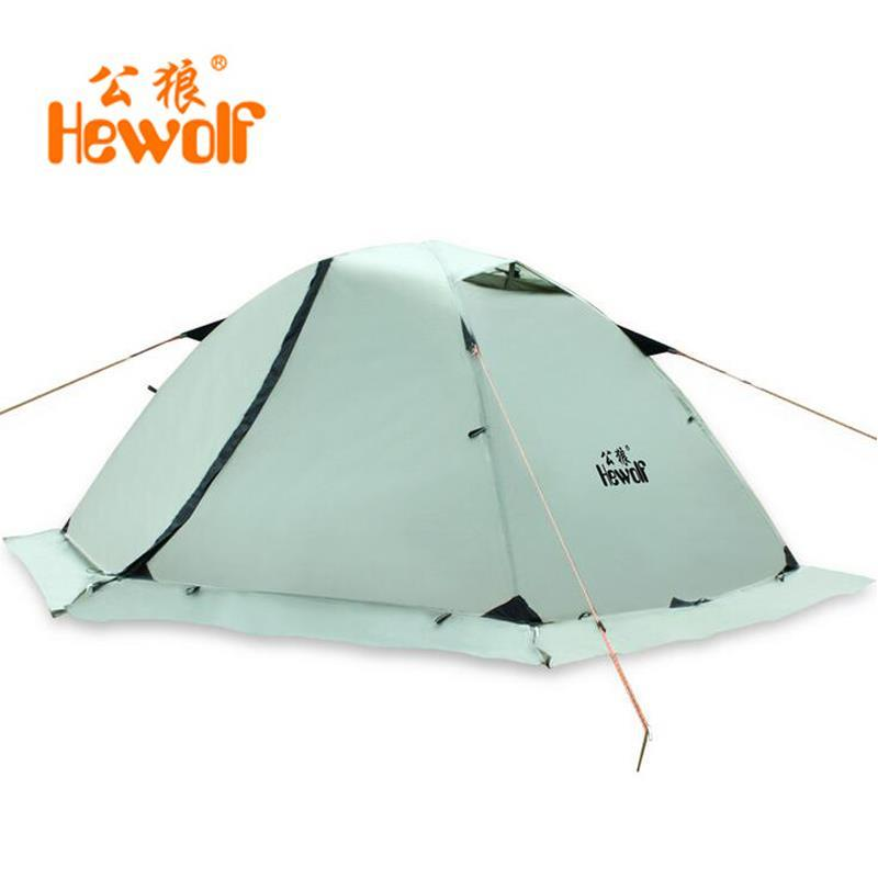 Hewolf Outdoor Four Seasons 2 Person Winterized Winter Tent Double Layer Hiking Beach Tourist Camping Tent Snow Skirt good quality flytop double layer 2 person 4 season aluminum rod outdoor camping tent topwind 2 plus with snow skirt